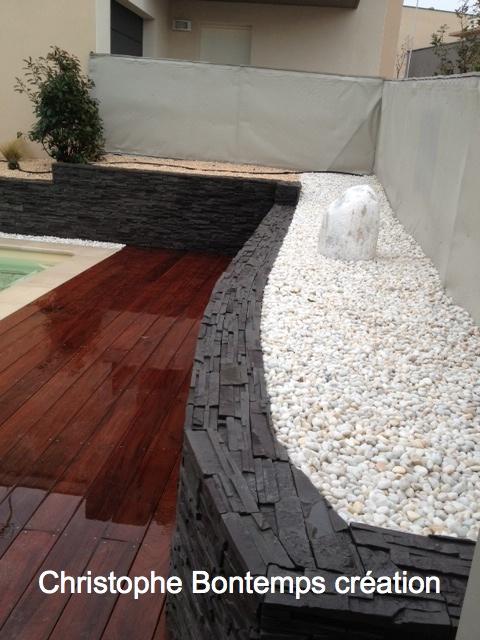 Terrasse bois parements et minéraux Prades le lez